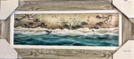 Sea Turtle Art Painting Gray Frame 43 x 19