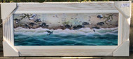 Sea Turtle Painting White Wood Frame 41.5  x 17