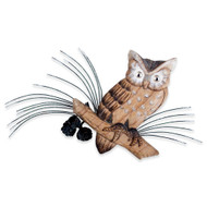 Hand Carved Owl on Pine Cone Branch CW620