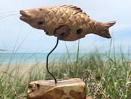 Teak Fish on Stand Driftwood