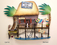 Tiki Hut Tropical Resort Metal Wall Sculpture CA710