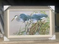 Pair of Herons Hunting Painting 54 x 36