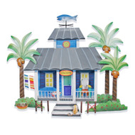 Caribbean Cottage, Blue - Metal Wall Hanging