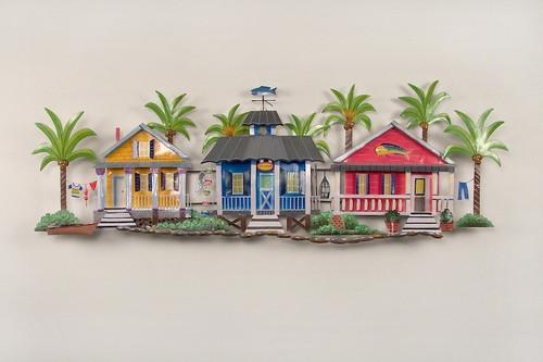 Ti Design Wall Art : Caribbean village metal wall art