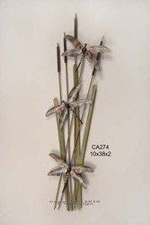 Dragonflies on Cattails Wall Sculpture