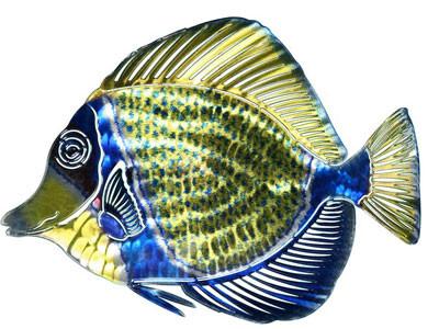 3D Blue Angelfish Metal Wall Art