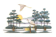 Savannah Scene with Herons - Metal Wall Art