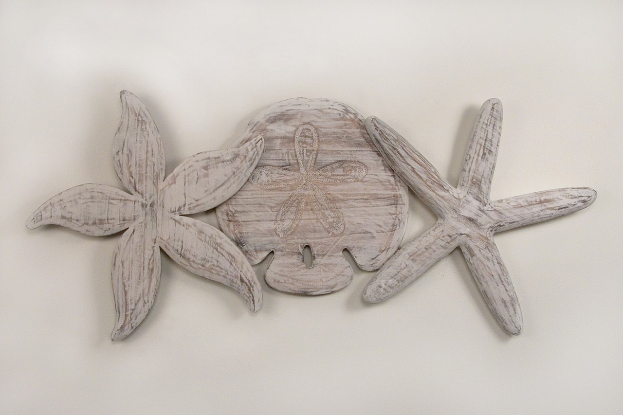 Nautical Sand Dollar And Starfish Wall Sculpture Cw004