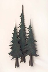 Three metal pine trees have a texture to the finish creating an added dimension to this piece. Hand painted over steel, you will bring the rugged outdoors inside with this sculpture on your wall.