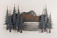 Majestic, white capped mountains and stately evergreens surround a serene mountain lake, in our beautiful wall art. This large mountain scene is made from steel, handpainted and airbrushed.