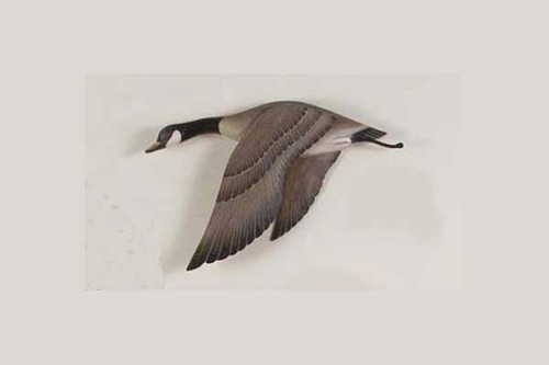 Wooden hand carved goose looks great with our standing Canadian Geese Pair on Lake, or with the flying open winged goose.