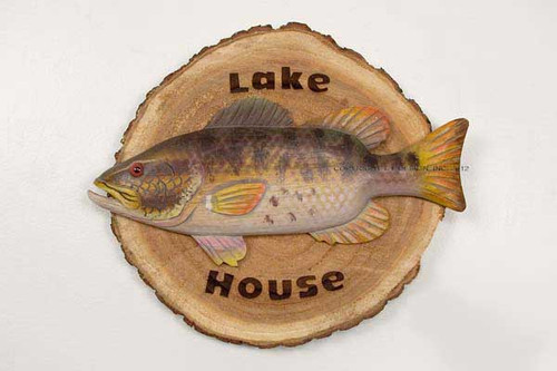 Welcome to our Lake House! Let our wooden sign with hand carved Bass mounted across the front great all of your friends and fishing buddies at the front door!