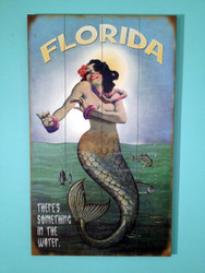 50's Vintage Wooden Mermaid Sign