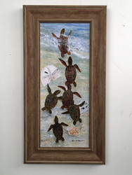 "Baby Sea Turtles Framed Art 21"" x 11"""