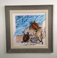 "Sea Turtles Framed Painting 34"" x 34"""
