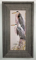 "Blue Herons Painting 22"" x 12.5"""