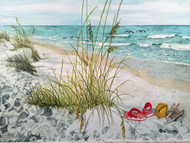 "Flip Flops on the Beach Painting 43.5"" x 31"""