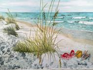 "Flip Flops on the Beach Painting 43.5"" x 31"""