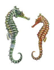 PAIR OF SEAHORSES METAL WALL ART