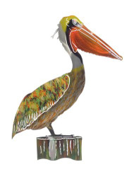 PELICAN ON PILING METAL WALL ART