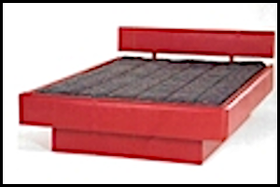 Upholstered 5-board complete waterbed in a red vinyl. Shown with an upholstered pedestal.