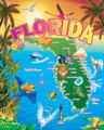 Florida Map Beach Blanket (54x68)