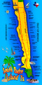 South Padre Island TX Map Beach Towel (30 x 60)