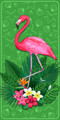 Flamingo Gardens Velour Towel