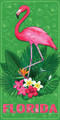 Florida Flamingo Gardens Velour Towel