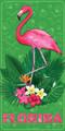 Florida Flamingo Gardens Velour Towel