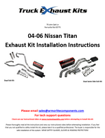 Nissan Titan 04-07 Dual Exhaust Kits Instructions