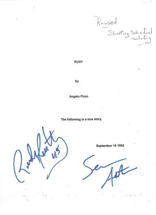 Dual signed/autographed Movie Script with Scene Shooting Schedule.  This is the signed cover page buyer will receive.