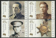 AUSTRALIA 2000 Australian Legends Stamps - MNH Scott 1800-1803 Legends Type of 1997 Aging Veterans of WWI Block of 4 Issued 1/21/2000