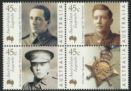 AUSTRALIA 2000 Australian Legends Stamps - MNH Scott 1800-1803 Legends Type of 1997 Aging Veterans of WWI Block of 4 Issued 1/21/2000