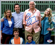 Chevy posing with cast members Ed Helms, Christina Applegate, Beverly DeAngelo, Skyler Gisondo, and Steele Stebbins.  Buyer will receive actual item displayed in our images.