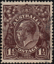 Australia Scott #24 King George V, 1 1/2p, Watermark 9