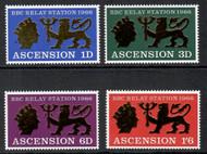 Ascension Scott 111-114 MNH 1966 BBC Opening Emblem Gold Impressed