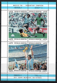 Argentina Scott 1569-70 MNH 1986 World Cup Mexico Soccer Miniature Sheets
