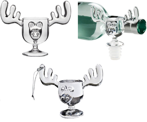 Mug Trio includes (1) Moose Mug, (1) Mini Moose Mug Wine Bottle Stopper and (1) Mini Moose Mug Ornament.