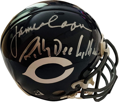 "Emmy Award nominees, James Caan and Billy Dee Williams have hand signed one side of this Chicago Bears throwback mini helmet. Gale Sayers has hand signed the other side on this helmet. In addition Gale has added the very special inscription ""Brian's Song."""