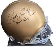 "A&R Collectibles is pleased to offer this dual signed full size Notre Dame helmet that has been hand signed by both Rudy and Ara. In addition to signing his name, Rudy has added the very special inscription ""Never Quit."""