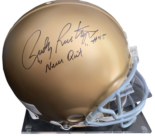 """A&R Collectibles is pleased to offer this dual signed full size Notre Dame helmet that has been hand signed by both Rudy and Ara. In addition to signing his name, Rudy has added the very special inscription """"Never Quit."""""""