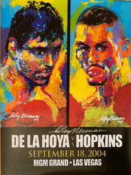Here we have an original autographed Leroy Neiman onsite fight poster, only available at the event for the mega fight at the MGM Grand Las Vegas for the Undisputed Middleweight Title.