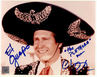 """Chevy Chase authentic signed Three Amigos 8x10 Color Photo with added inscriptions """"El Guapo"""" and """"the Plethora Man."""""""