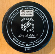One of only three game pucks collected during the second period.