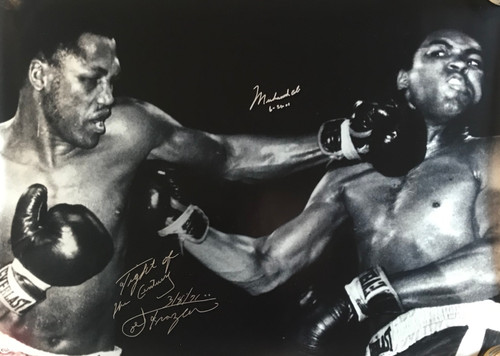 Looking for the next big item to add to your memorabilia collection? Well this is it...in more ways than one. Muhammad Ali / Joe Frazier Dual signed 30x40 photo from 3/8/71