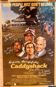 Signed by Rodney Dangerfield, Chevy Chase, Michael O'Keefe, Cindy Morgan, Hamilton Mitchell, John Barmon and Scott Powell.