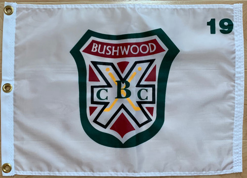 """White 100% Nylon Flags (with brass grommets) with the Bushwood Country Club screened on logo, size: 14""""x20"""""""
