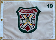 "White 100% Nylon Flags (with brass grommets) with the Bushwood Country Club screened on logo, size: 14""x20"""
