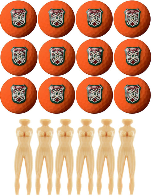 """Custom designed BUSHWOOD COUNTRY CLUB Logo Golf Balls and 3"""" tall naked lady tees made of strong plastic.  These beauties are designed for guys with """"big drivers."""""""